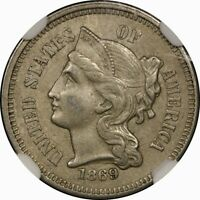 1869 3CN THREE CENT NICKEL NGC AU55  OLD TYPE COIN MONEY