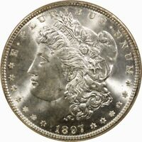1897 $1 MORGAN SILVER DOLLAR NGC MINT STATE 64  OLD TYPE COIN