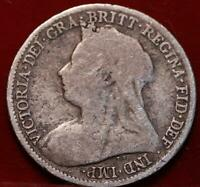 1895 GREAT BRITAIN 6 PENCE SILVER FOREIGN COIN