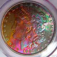 1887 RAINBOW TONED MORGAN SILVER DOLLARPCGS CAC MINT STATE 64COLORFUL OBVERSE TONING