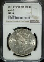 1900 O/O/CC NGC MINT STATE 63 MORGAN SILVER DOLLAR  VAM 8 TOP 100  001
