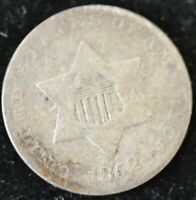 1852 VG-FINE TYPE ONE THREE CENTS SILVER