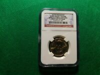 NGC 1ST DAY ISSUE 6TH PRES JOHN QUINCY ADAMS 2008 $1 BRILLIANT UNC COIN A706TXX