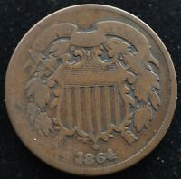 KAPPYSCOINS G1036 1864 CIVIL WAR USED TWO CENT PIECE FULL DATE GOOD  REV SCAR