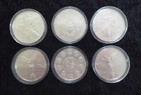 LIBERTAD, US SILVER EAGLE 6 X 1OZ SILVER COINS WITH CAPSULES - RANDOM YEARS XY1