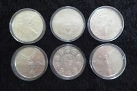 LIBERTAD, US SILVER EAGLE 6 X 1OZ SILVER COINS WITH CAPSULES - RANDOM YEARS R2