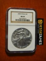 2004 $1 AMERICAN SILVER EAGLE NGC MINT STATE 69 CLASSIC BROWN LABEL