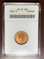 1865 ANACS MINT STATE 62 RED INDIAN HEAD CENT PENNY  --  GORGEOUS FULL RED