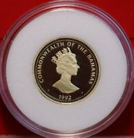 UNCIRCULATED PROOF 1992 BAHAMAS $100 .900 GOLD .1875 ASW COIN KM152