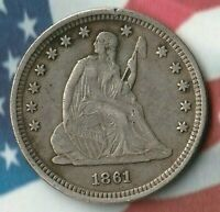 1861 UNITED STATES SEATED LIBERTY QUARTER DOLLAR- 90 SILVER- AMAZING DETAILS