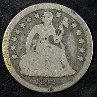 1842 P SEATED LIBERTY SILVER DIME  WELL CIRCULATED  SET FILLER  436