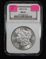 1886-S MORGAN DOLLAR NGC MINT STATE 63 VAM-1B