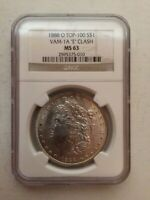 1888-O VAM-1A E CLASH TOP 100 MORGAN DOLLAR NGC MINT STATE 63 WHITE DIE BREAK ON