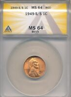 1949-S/S RPM LINCOLN WHEAT CENT - ANACS MINT STATE 64 RED  - VARIETY -C135UQXX