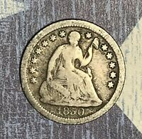 1850-O SEATED SILVER HALF DIME COLLECTOR COIN FOR COLLECTION. SHIPS FREE.