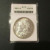 1889-S MORGAN DOLLAR- ANACS AU-50 - OLD HOLDER AND SERIOUSLY UNDERGRADED - LOOK