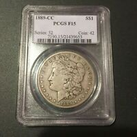 1889-CC MORGAN DOLLAR - PCGS  F 15 - BEAUTIFUL COLOR - TOTALLY ISSUE-FREE -