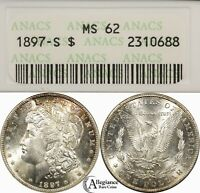 1897-S MORGAN SILVER DOLLAR ANACS MINT STATE 62 UNDERGRADED   OLD TYPE COIN MONEY J
