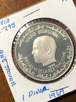 1969 TUNISIA STERLING SILVER DINAR PROOF LARGE COIN KM 293