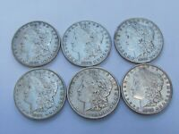 6MORGAN SILVER DOLLARS-1881-18842-18902-1898-ALL P MINTSGREAT BUY430