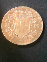 SWITZERLAND 20 FRANC GOLD COIN 1911 ISSUE UNCIRCULATED