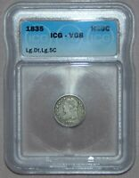 1835 CAPPED BUST SILVER HALF DIME  ICG VG8,  COIN