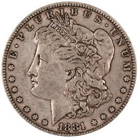 1881 MORGAN SILVER DOLLAR. V.F. CONDITION. ORIGINAL PATINA. 0333