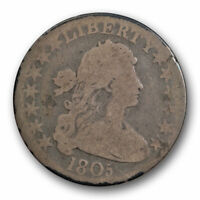 1805 DRAPED BUST HALF DOLLAR GOOD TO  GOOD EARLY AMERICAN COIN