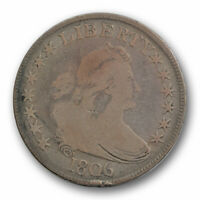 1806 DRAPED BUST HALF DOLLAR  GOOD VG POINTED 6 WITH STEMS