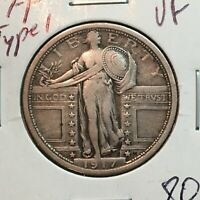 1917-P TYPE 1  VF  STANDING LIBERTY QUARTER    COIN