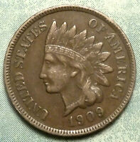 1909 INDIAN HEAD PENNY EXTRA FINE  EXTRA FINE 3 DIAMOND  LIBERTY LOW 14.4 MIL LAST INDIAN