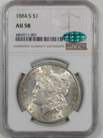 1884-S MORGAN DOLLAR NGC AU-58 PREMIUM QUALITY CAC APPROVED