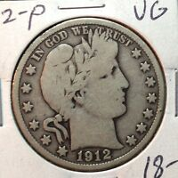 1912-P  VG   BARBER HALF DOLLAR   LY AND PART OF IT   1