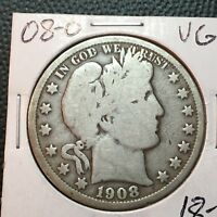 1908-O  VG   BARBER HALF DOLLAR  LTY AND PART OF I