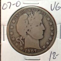 1907-O   VG   BARBER HALF DOLLAR  LY AND PART OF IT
