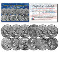 EISENHOWER IKE DOLLARS 6 COIN SET COMPLETE SET OF ALL 6 YEARS 1971 1978 WITH COA