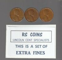 1940 / 1940D / 1940S   LINCOLN CENTS   MUCH R GRADE OF  EXTRA  FINE