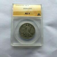 1916-S WALKING LIBERTY HALF DOLLAR - AG 3 THAT SHOULD HAVE LANDED A 4. PLS LOOK.