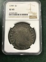 1799 SILVER DOLLAR NGC EXTRA FINE 45 AMAZING COIN