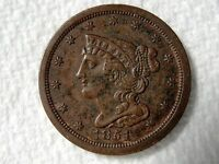 1851 BRAIDED HAIR HALF CENT  HIGH GRADE WITH SOME RED