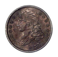 1833 10C ICG MINT STATE 60 DETAILS  UNCIRCULATED CAPPED BUST DIME