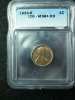 1930-S LINCOLN WHEAT CENT 1C ICG MINT STATE 64 RB