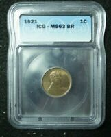 1921 LINCOLN WHEAT CENT 1C ICG MINT STATE 63 BN