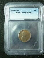 1915-D LINCOLN WHEAT CENT 1C ICG MINT STATE 62 BN