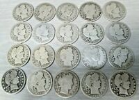 MIXED LOT OF 20 US BARBER SILVER QUARTERS