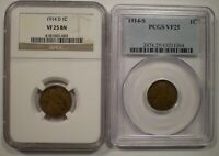 1914-D  1914-S LINCOLN CENTS NGC PCGS CERTIFIED VF25