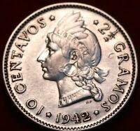 1942 DOMINICAN REPUBLIC 10 CENTAVOS SILVER FOREIGN COIN