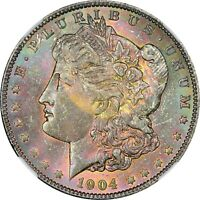 1904-O MORGAN DOLLAR NGC MINT STATE 63 PINK AND GREEN OBVERSE