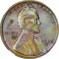 1935 D LINCOLN CENT NGC MINT STATE 63BN BLUE OBVERSE TOUGH COLOR DATE