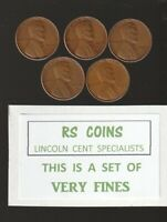 1935S  1936S  1937S  1938S  1939S    FINES  LINCOLN CENT SET  LOT 52303